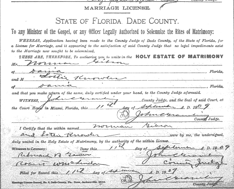Norman Gibson Lottie Knowles Marriage License