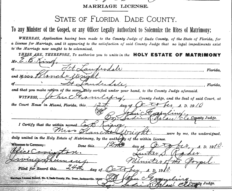 E B King Blanche Wright Marriage License