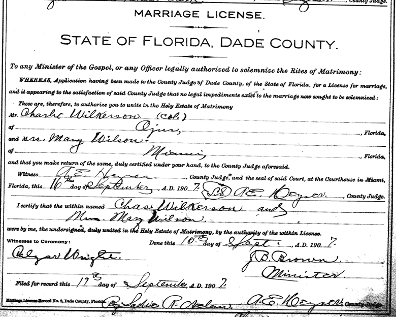 Charlie Wilkerson Mary Wilson Marriage License